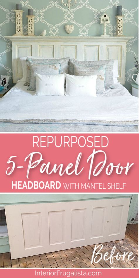 How to turn an old door into a gorgeous headboard with mantel ledge that has farmhouse charm plus detailed step-by-step tutorial. Diy Bed Headboard, Headboard From Old Door, Headboard Designs, Headboard Ideas, Old Door Headboards, Headboards For Beds Diy, Painted Wood Headboard, Old Door Bench, Mantel Headboard