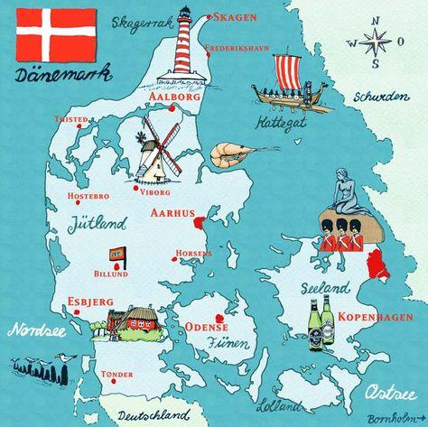 Pin Von Christopher Morley Auf Denmark Karte Von Danemark