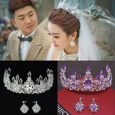 7cm High Antique Brass Purple Crystal Wedding Party Pageant Prom Tiara Crown