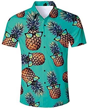 JOGAL Camisa Hawaiana Informal con Flores para Hombre