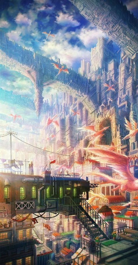 clouds cityscapes dragons bridges buildings stairways fantasy art scenic power lines cities skies original characters Original Content wallp...