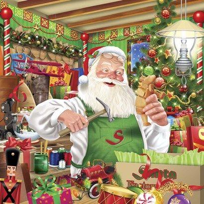Santa Factory 1 By Ratru Vintage Christmas Cards Christmas Art Dollar Store Christmas