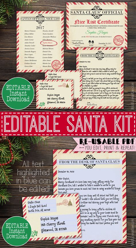 Your child will love receiving this Vintage Santa Kit with and Editable Letter from Santa with Matching Envelope, Nice Certificate, and Nice List! | MadiLovesKiwi.com | Personalized Christmas Printables, Santa Cam Letter, Holidays Traditions for Kids, Christmas Fun, Santa Ideas, #nicelist #santa #santaletter #christmas #xmas