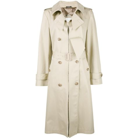 Maison Margiela cut-out lapel trench coat (€2.365) ❤ liked on Polyvore featuring outerwear, coats, long lapel coat, long coat, trench coat, lapel coat and beige coat