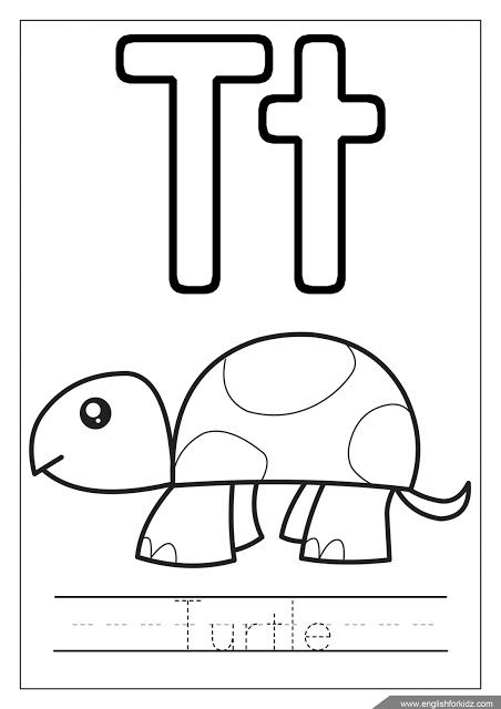 Letter T Coloring Turtle Coloring Alphabet Coloring Page
