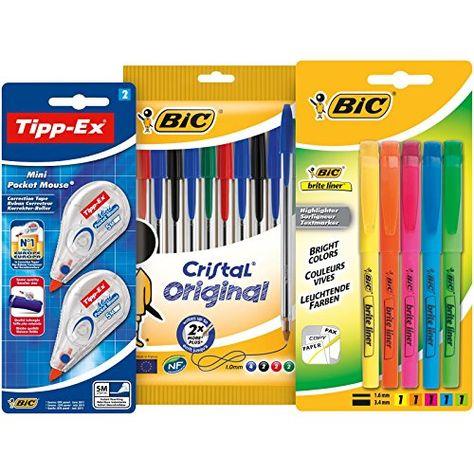 Estuche con 10 bol/ígrafos de colores BIC Pack vuelta al cole 5 marcadores y 2 correctores