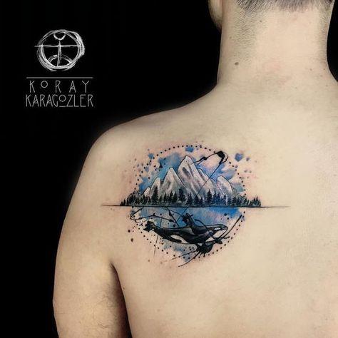 tattoodesign #orca #whale #mountains...