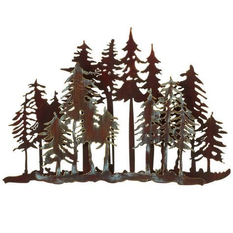 Mountain Forest Metal Wall Art Forest Wall Art Metal Tree Wall Art Metal Tree