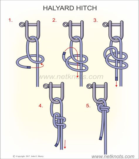 How to tie a Halyard Hitch animated and illustrated by NetKnots, - Everything About Camping Tools Paracord Knots, Rope Knots, Macrame Knots, Survival Life Hacks, Survival Prepping, Survival Skills, Sailing Knots, Survival Knots, Knots Guide