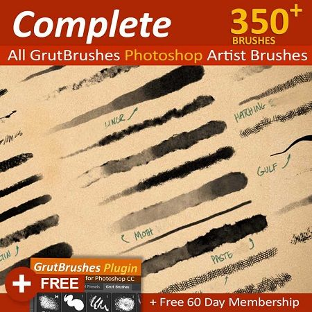 Grutbrushes Art Brushes Complete 350 Photoshop Brushes Free