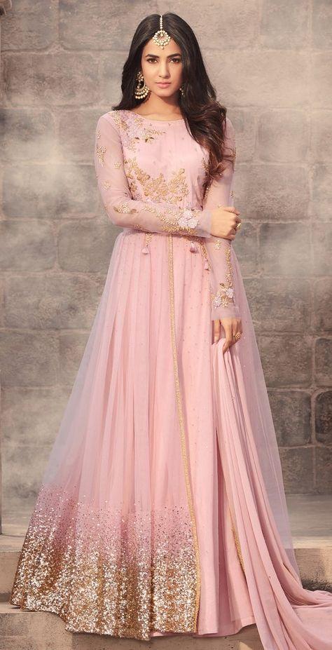 7a4c6805b7ce7 Light Pink Designer Embroidered Net Anarkali Suit. More Details