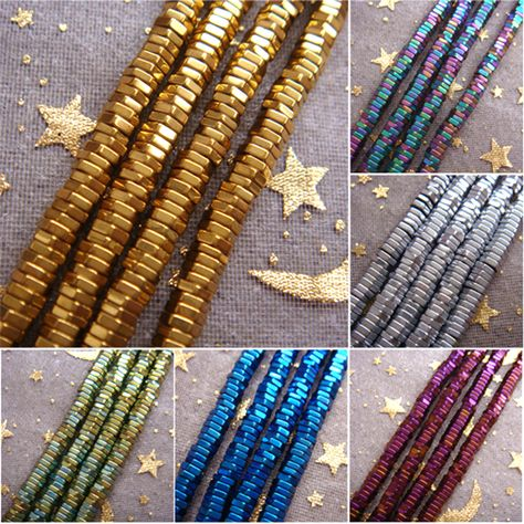 Pandahall 200pcs 2mm Metallic Hematite Gemstone Beads Strands Gold Plated Round Non-Magnetic Loose Beads Spacer for Jewelry Making Findings