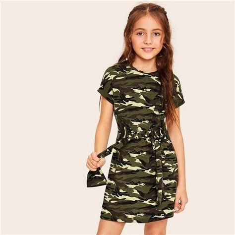 Girls Tie Waist Camouflage Casual Tee Dress – GaGodeal