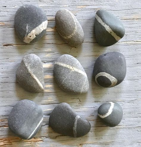 Lucky Wish Stones - 6 PCS Premium Quality Beach Stones 2-2.75 Inches - Hand Selected - Maine Wedding Gift