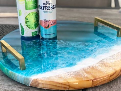 Ocean resin beach scene wooden serving tray and lazy susan / ocean display tray / beach cheese tray / decorative ocean tray / LAZY SUSAN – Arte com resina – New Epoxy