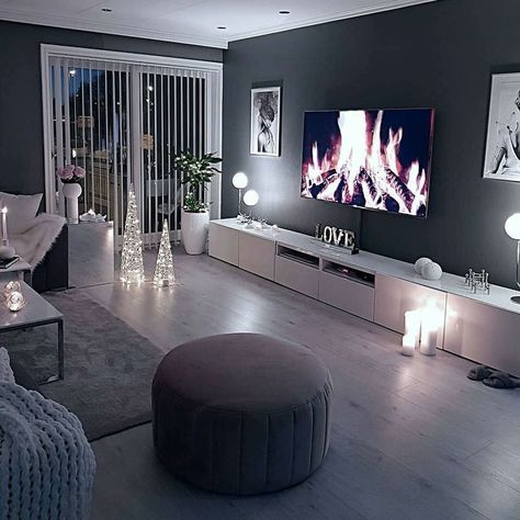 Cozy living room dark wall gray taupe black light sofa wooden floor … - All For Decoration