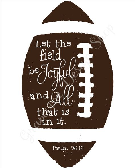 Football prints – Let the field…Psalm – Instant printable – Scripture wall art – 2 font colors – Sports Kids bedroom -Bible verse Fußballdrucke. Football Rooms, Football Banquet, Football Crafts, Fall Football, Football Themes, Football Field, Boys Football Bedroom, Football Locker Decorations, Football Centerpieces