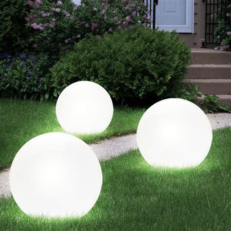 3x Led Solar Kugel Lampen Erdspiess Steck Leuchten Garten Kreativekonkrete Solarlampe Deko Schalenausbeton Led Settings Solar