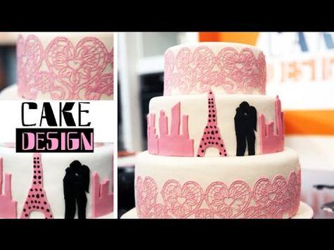 Wedding cake - Gâteau de mariage dentelles et ombres - YouTube
