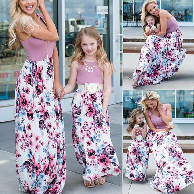 Mother And Daughter Sleeveless Anchor Womens Girls Holiday Boho Long Maxi Dress