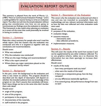 Evaluation Report Outline Template PDF Program Evaluation - sample presentation evaluation