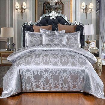 Luxury 2 Or 3pcs Bedding Set Satin Jacquard Duvet Cover Sets With Zipper Closure 1 Quilt Cover 1 2 Pillowcases Us Eu Au Size Emporiaz Duvet Cover Sets Luxury Sheets Jacquard Bedding
