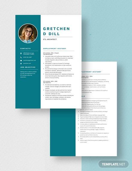 Etl Architect Resume Template In 2020 Resume Template Manager Resume Resume