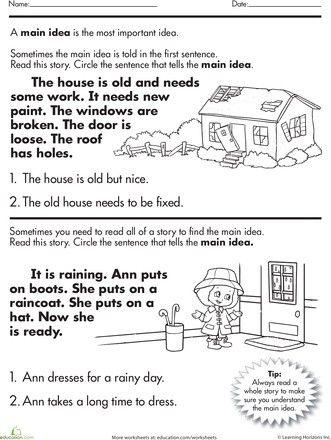 Jessicadiary Com Main Idea Worksheet Reading Comprehension Worksheets Super Teacher Worksheets