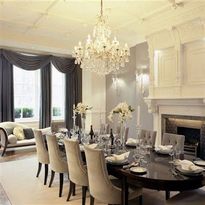 elegant dining rooms. Very elegant  I especially like the chaise longue in window New house ideas Pinterest Elegant Window and Fire places