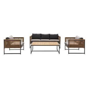 Salon de jardin 5 places - 1 table avec 2 fauteuils et 1 ...