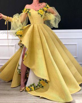 Vintage Handmade Yellow Deep V Empire Waist Floor Length Gown