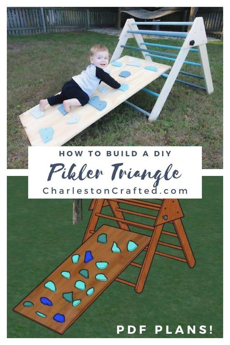 Foldable Pikler Triangle with Climbing Wall - Printable PDF Woodworking Plans - Modern Design Toddler Fun, Toddler Toys, Toddler Slide, Kids Climbing, Toddler Climbing Wall, Indoor Climbing, Diy Bebe, Baby Kind, Do It Yourself Home