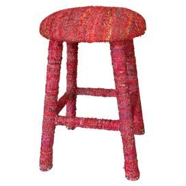 """An eye-catching addition to your kitchen counter or desk, this wood stool is wrapped in red sari silk upholstery. Handmade in India.   Product: StoolConstruction Material: Wood and sari silkColor: RedFeatures: Handmade in IndiaDimensions: 24"""" H x 16"""" Diameter"""