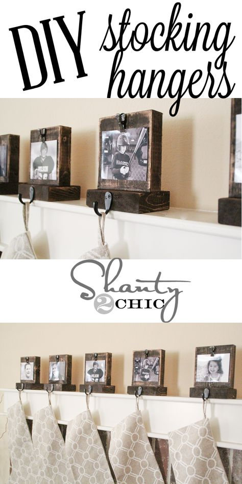 •❈• Easy DIY Wooden Stocking Hangers! Must make these! great tutorial