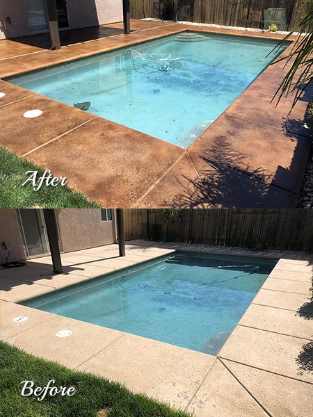 Stained Concrete Pool Deck With Gloss Topical Sealer And Non Slip