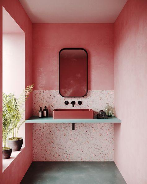 """SHINE BRAGA on Instagram: """"Um projeto de um lavabo com cores quentes, acabamento rústico nas paredes e muita luz natural pra Inspirar!  Design De Interiores por YP…"""""""