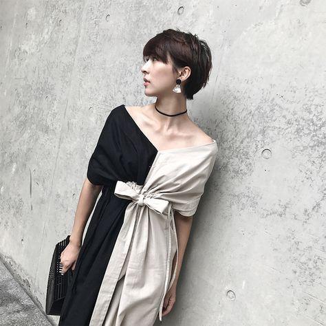 Chen Ye cotton and linen black and white skirt summer 2017 new retro leisure word shoulder leak back temperament dress female