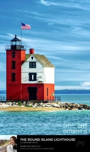 Round Island Lighthouse in Michigan near Mackinac Island By Jennifer White Timeless Moments Photography. #lighthousephotography #wallart #homedecor #photography #mackinacisland