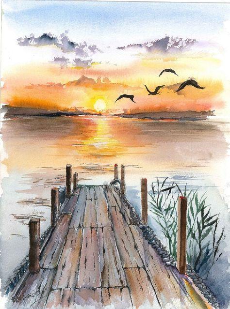 Lake Watercolor, Sunset Lake Watercolor, Sunset Lake Watercolor, Tableau de journée aux bords de l'eau Lovely wetlands watercolor! un rincón para soñar Wall Mural