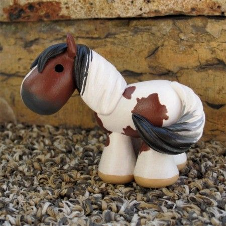 bay paint / pinto painted clay horse by SpottedHorseKorral on Etsy