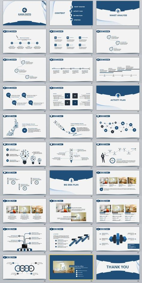 30+ Blue clean charts report PowerPoint Template