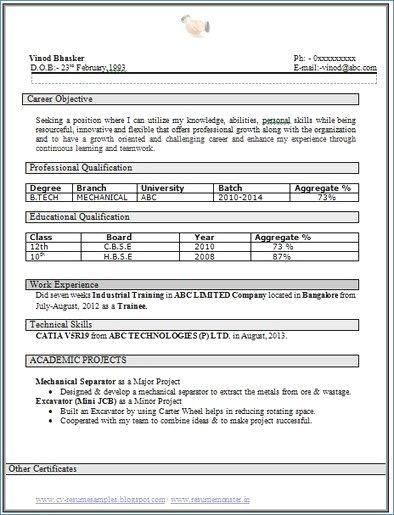 B Tech Fresher Resume Examples Engineering Resume Resume Format For Freshers Career Objectives For Resume