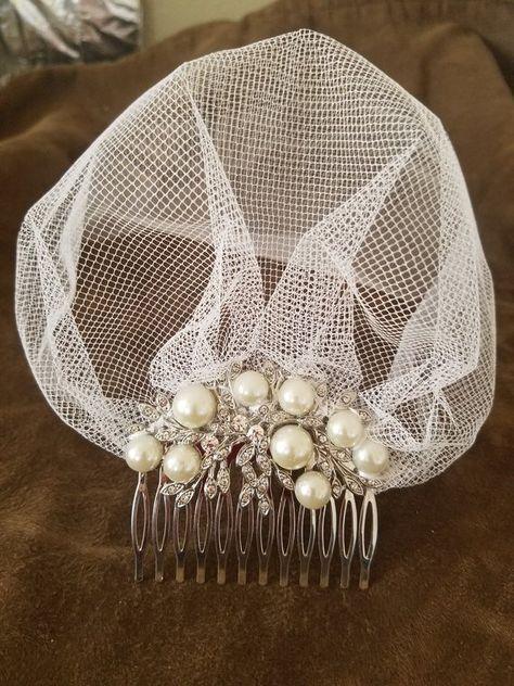 Hand-sewn birdcage wedding veil with silver comb encrusted with jewels. Diy Wedding Veil, Wedding Hats, Headpiece Wedding, Bridal Headpieces, Fascinators, Turbans, Vintage Veils, Fancy Hats, Hair Beads