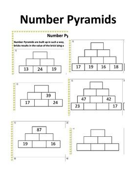 Number Pyramids A Set Of 5 Worksheets Each Varying In Difficulty With Answers That Use Number Pyramids As A Way To Pract Mental Maths Worksheets Pyramids Math