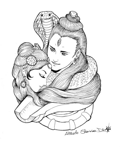 Shiva And Parvati Shiva Art Shiva Tattoo Sketches