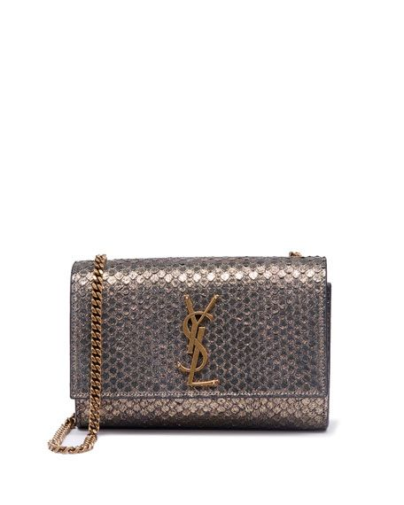 a89a8207 Saint Laurent Kate Monogram Small Python-Effect Crossbody Bag in ...