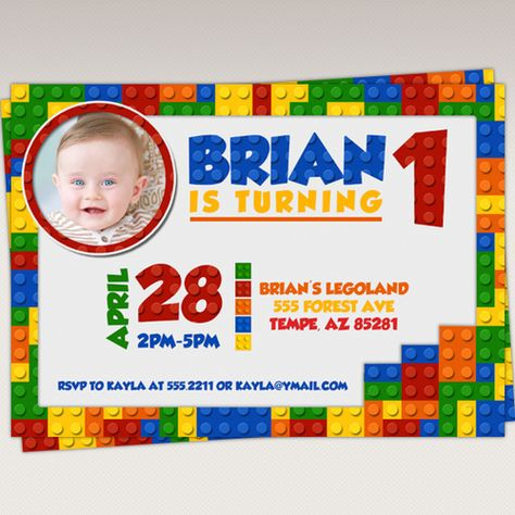 Lego Birthday Party Photo Invitation Lego Invitations Lego