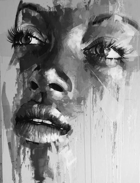 Tableau Noir Et Blanc Portrait Abstrait Peinture Africaine