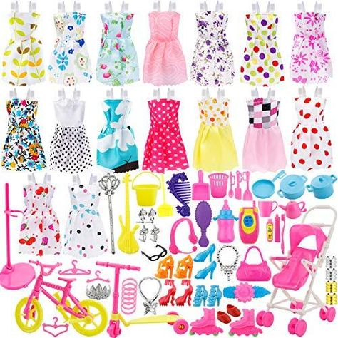 114PCS Barbie Doll Clothes Party Gown Shoes Bag Necklace Mirror Hanger Accessory