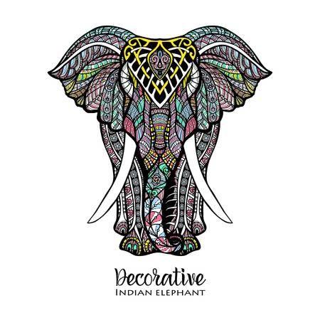 Dibujado A Mano Vista Elefante Frente Con Color Ilustracion Del Vector Del Ornamento Ilustracion De Elefante Manos Dibujo Dibujos De Elefantes
